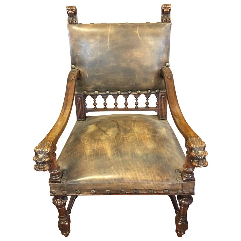 Antique Leather Carved Italian Throne Chair For Sale - Antique Leather Carved Italian Throne Chair At 1stdibs