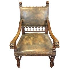 Antique Leather Carved Italian Throne Chair