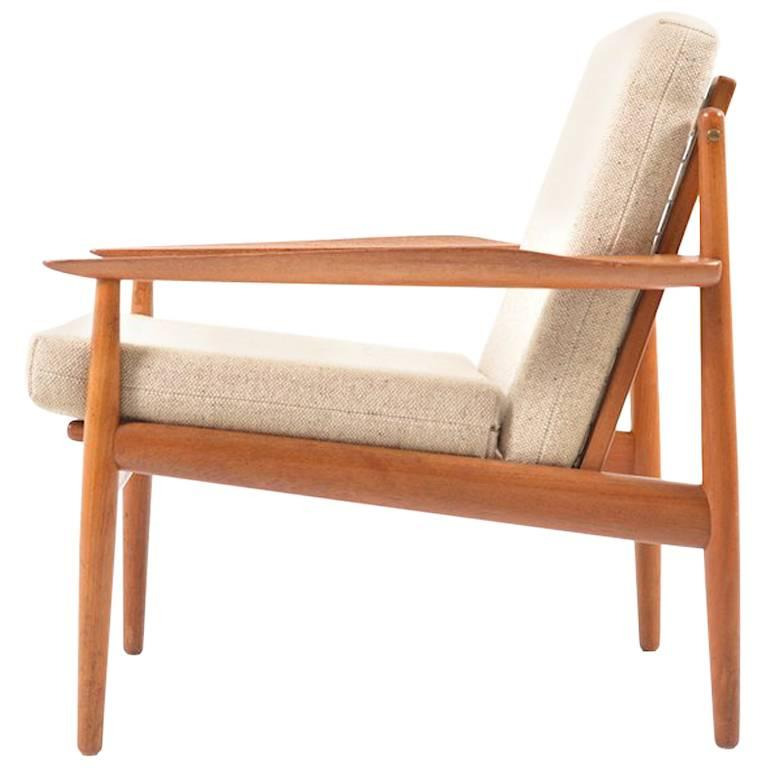 Early Teak Wooden Easy Chair by Arne Vodder