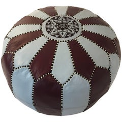 Vintage Moroccan Round Leather Pouf Brown and Blue Embroidered