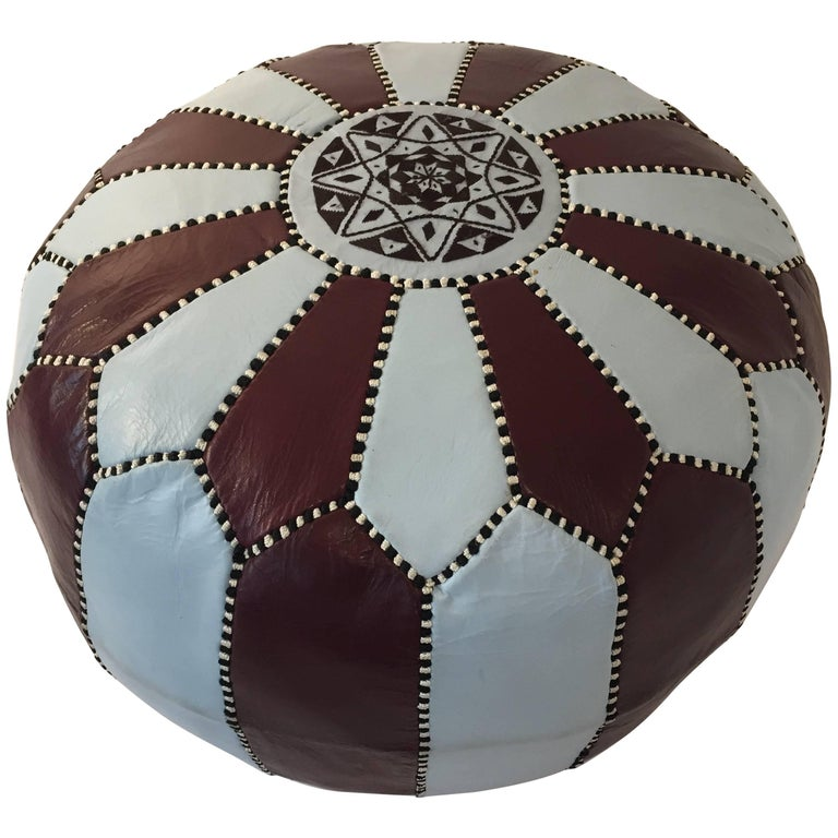 Vintage Moroccan Round Leather Pouf Brown And Blue Embroidered For Delectable Embroidered Leather Pouf