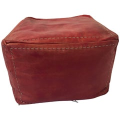 Moroccan Square Handcrafted Leather Ottoman Pouf
