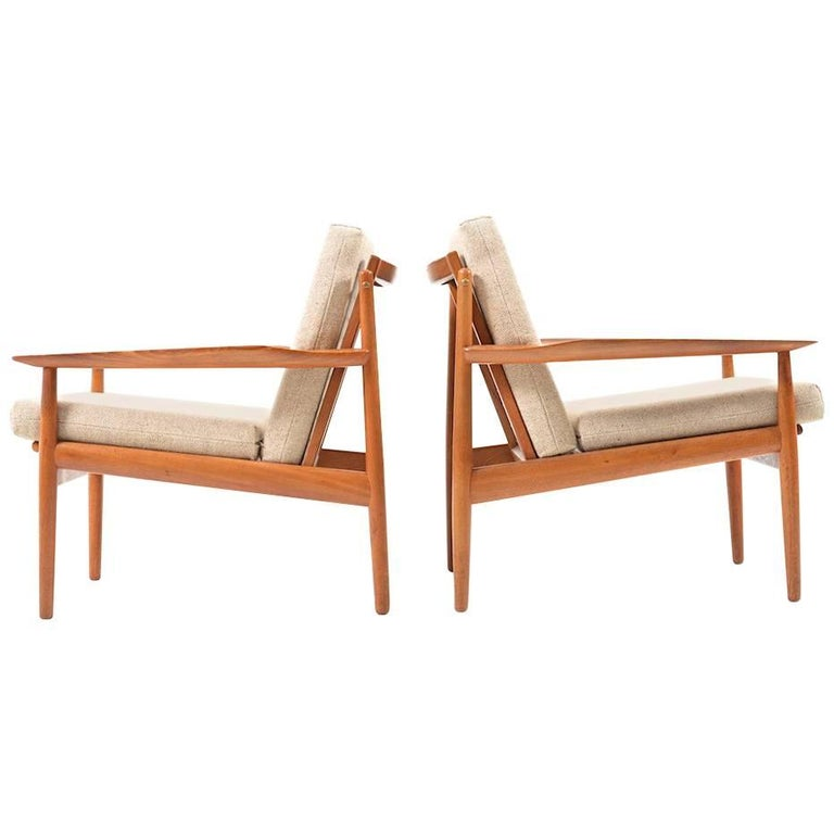 Early Pair of Danish Easy Chairs by Arne Vodder, 1950s For Sale