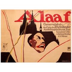 Original Antique Cologne Carnival Festival Poster - Alaaf - Carnevalsfeste Koln