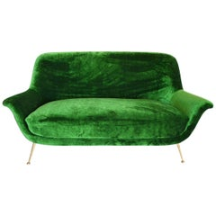 Magnificent Italian Mid-Century Sofa Reupholstered with Emerald Velvet, 1950s