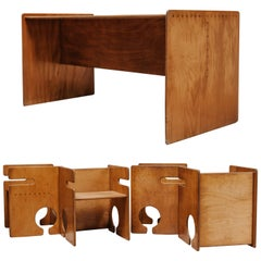 20th Century Vintage Design Child Desk and His Four Chairs