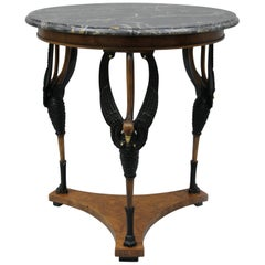 Regency Neoclassical Swan Marble Top Round Gueridon Center Table by Giemme Italy