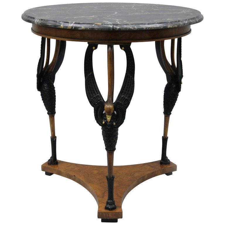 Regency Neoclassical Style Figural Swan Marble Top Round Gueridon Center Table