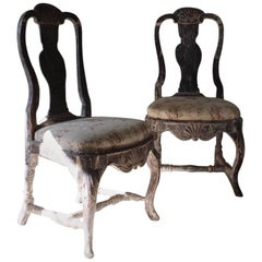 Pair of 18th Century, Swedish Side Chairs