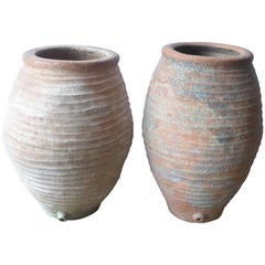 19th Century Spanish Olive Jars with Hints of Original Green and Blue Paint