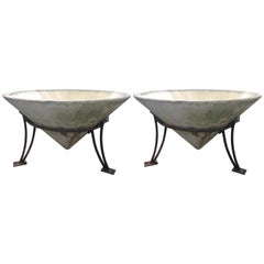 Enormous Pair of Mid-Century Cast Stone Conical Planters in Stands