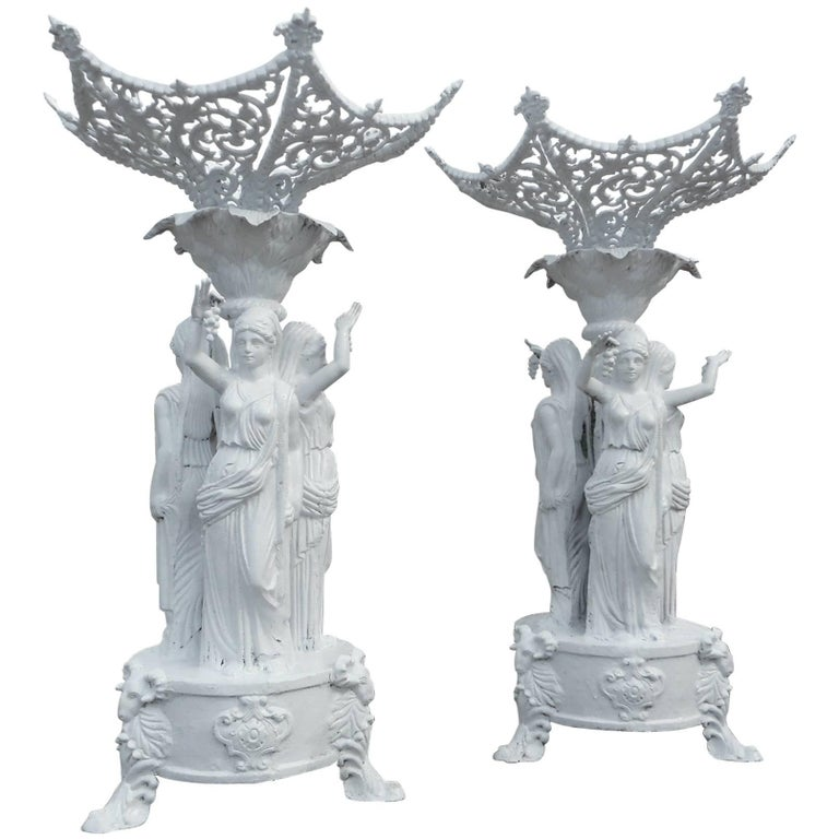 Large Pair of Cast Iron Statues with Women Holding Grapes