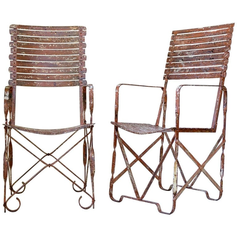 Rare Pair of Painted Iron Armchairs, France, circa 1910s