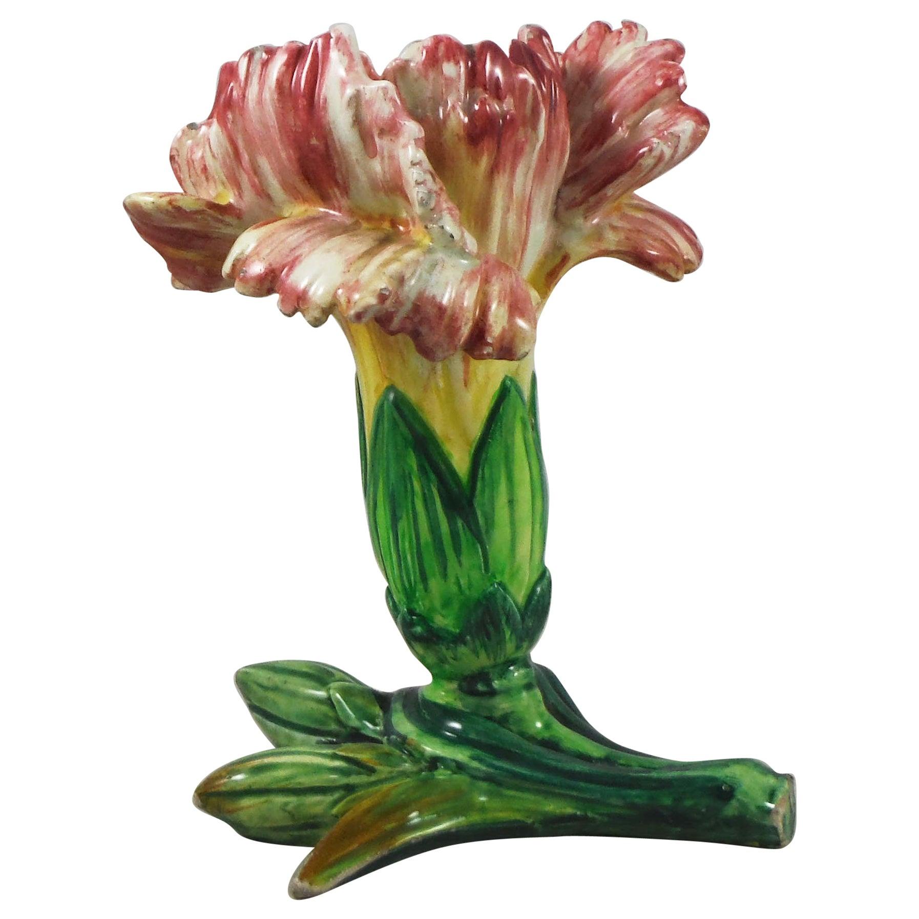 Majolica Carnation Vase Jerome Massier, circa 1900