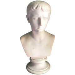 19th Century Marble Bust of Young Octavian, after Antonio Canova, 1757-1822