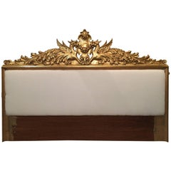 Hollywood Regency Style Gilt and Upholstered Headboard with Griffins