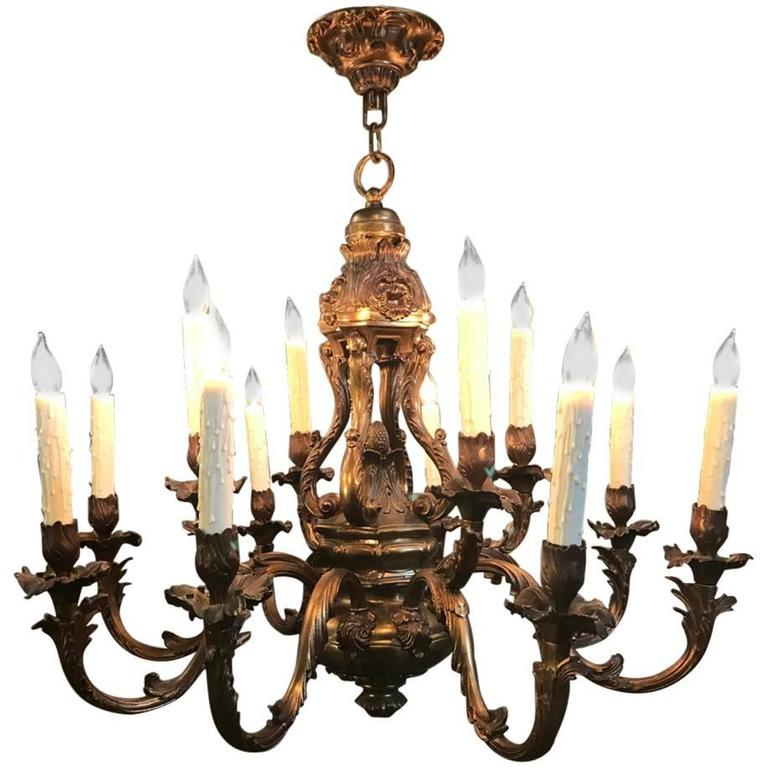 Antique French Louis XV Brass Chandelier For Sale - Antique French Louis XV Brass Chandelier For Sale At 1stdibs