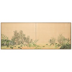 Japanese Two-Panel Screen, Ferns and Young Pine