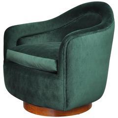 Milo Baughman for Thayer Coggin Walnut Swivel Lounge Chair