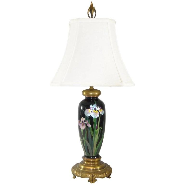 Japanese Meiji Cloisonné Enamel Brass Table Lamp with Double Socket