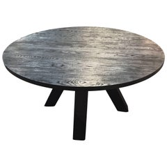 Feliz Round Dining Table in Blackened Oak by Haskell Studio