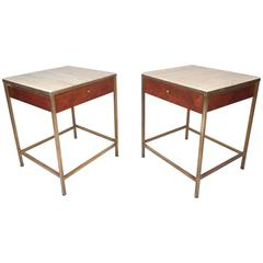 Exquisite Mid-Century Modern Paul McCobb Style Nightstands with Marble Tops