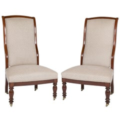 Matched Pair of Early Louis Philippe Mahogany Chauffeufes/Slipper Chairs