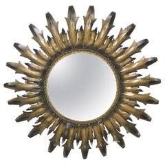 Mid-Century Modern Round Sunburst Mirror