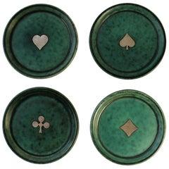 Wilhelm Kage Gustavsberg Argenta Poker or Playing Card Coasters