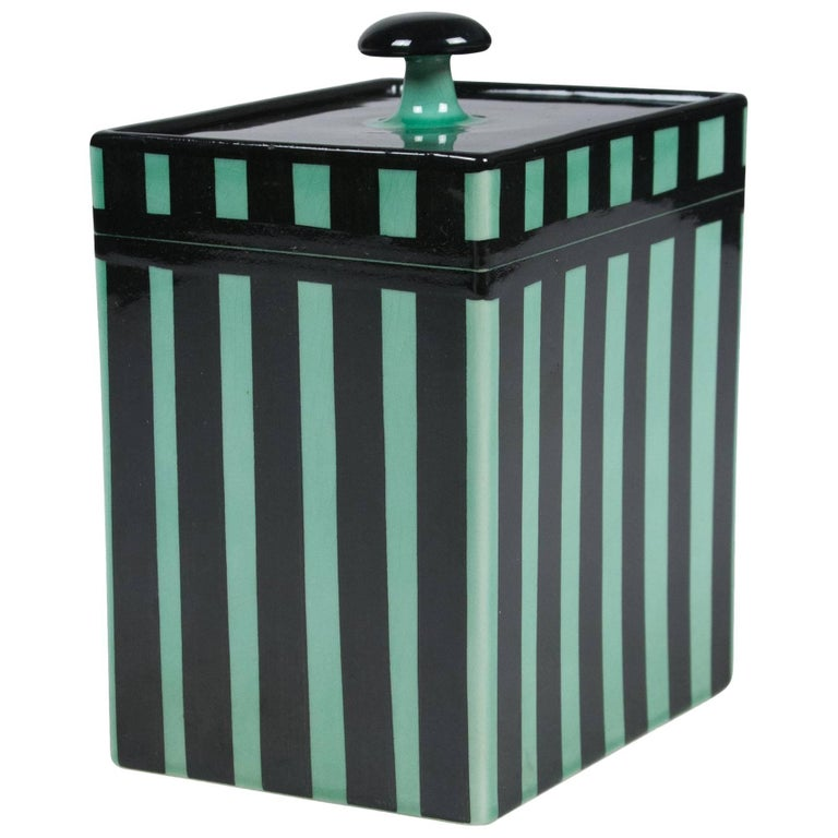 Striped Rectangular Ceramic Lidded Box by Hedwig Bollhagen 1