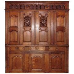19th Century, French Carved Buffet Cabinet from Brittany