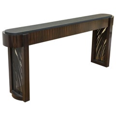 Macassar Ebony and Patinated Steel Console Table by Gregory Clark