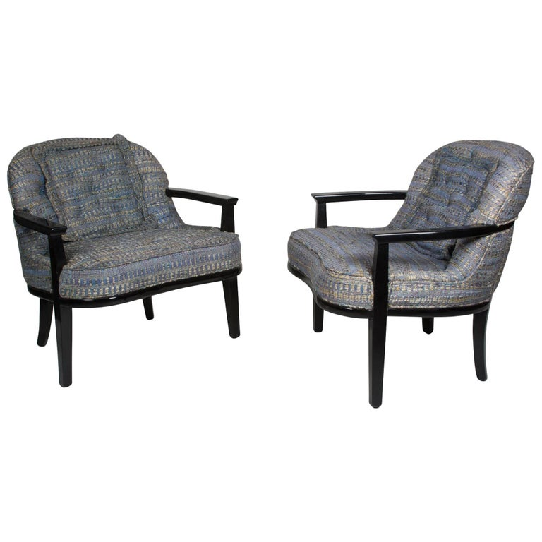 Pair of Black Lacquered Armchairs by Edward Wormley 1