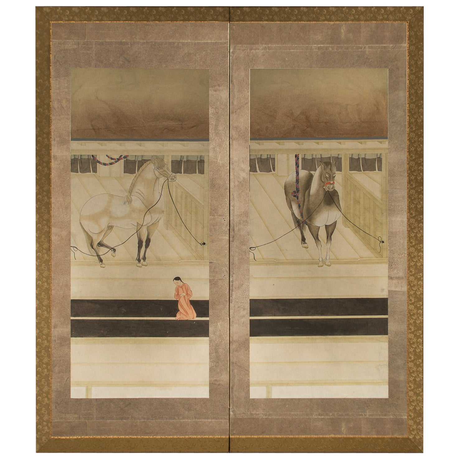 Japanese Two-Panel Screen, Horses in Stable with Attendant