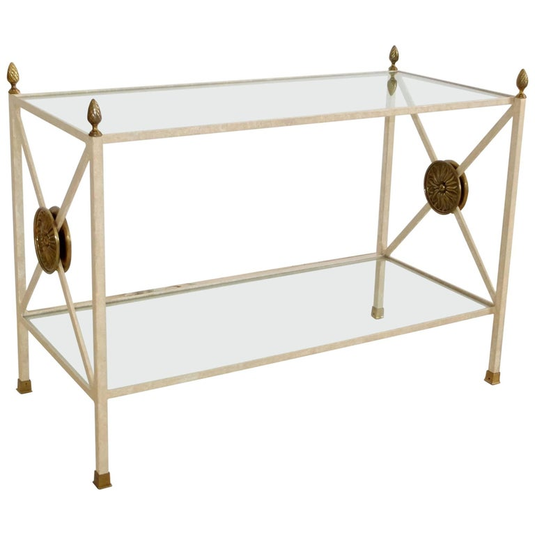 Directoire Style Enameled Iron Two-Tier Table Étagère with Brass Embellishments