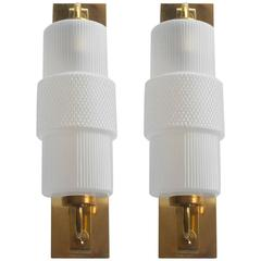 Pair of Murano Frosted Glass and Brass Sconces