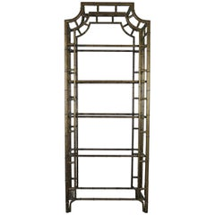 Chinese Chippendale Metal Faux Bamboo Étagère