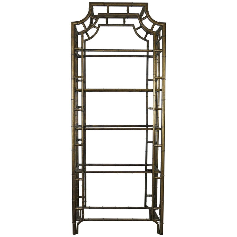 chinese chippendale metal faux bamboo tag re for sale at 1stdibs. Black Bedroom Furniture Sets. Home Design Ideas