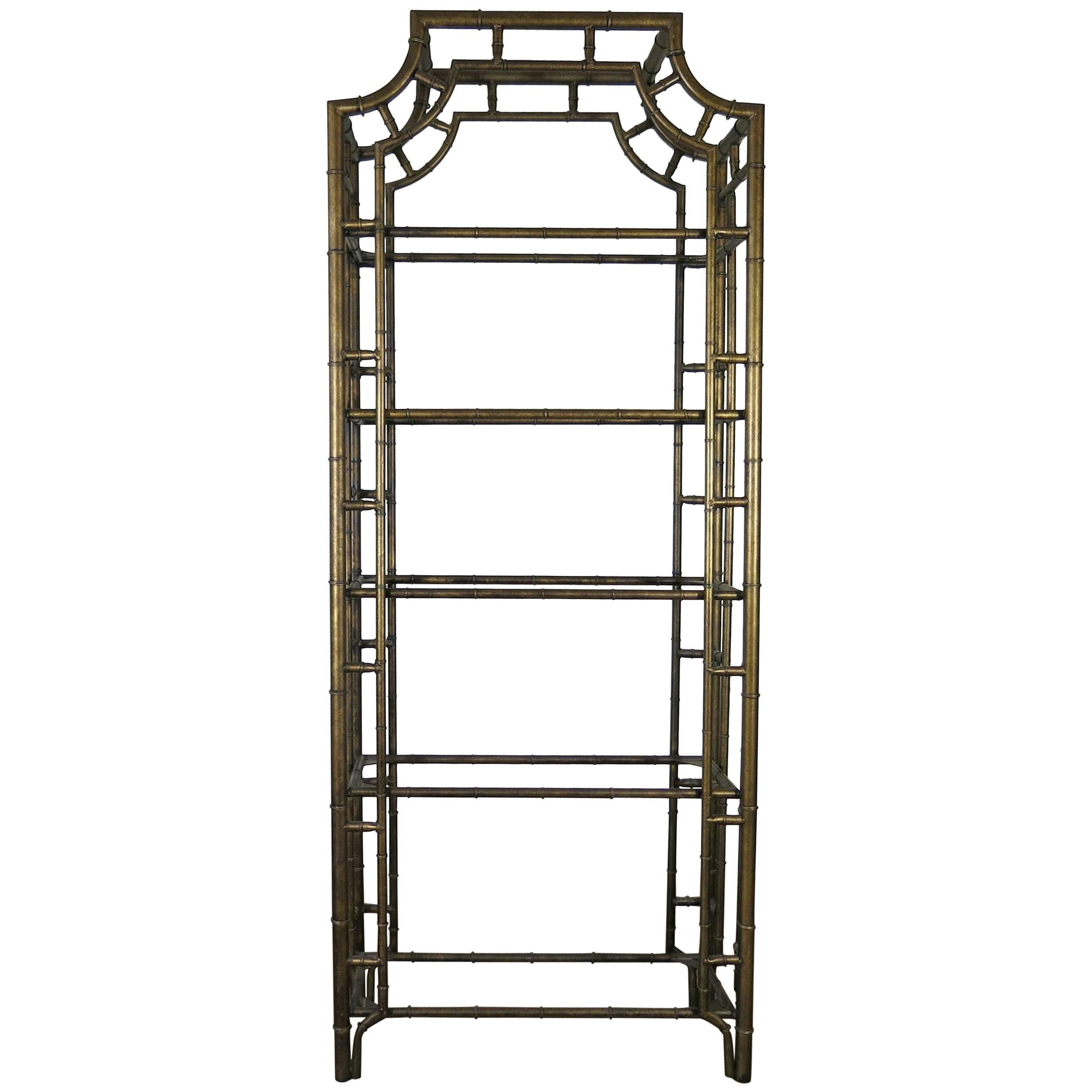 Chinese Chippendale Metal Faux Bamboo Étagère For Sale