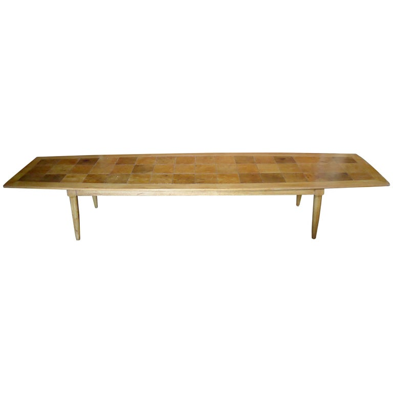 Long Coffee Table with Patchwork Style Top
