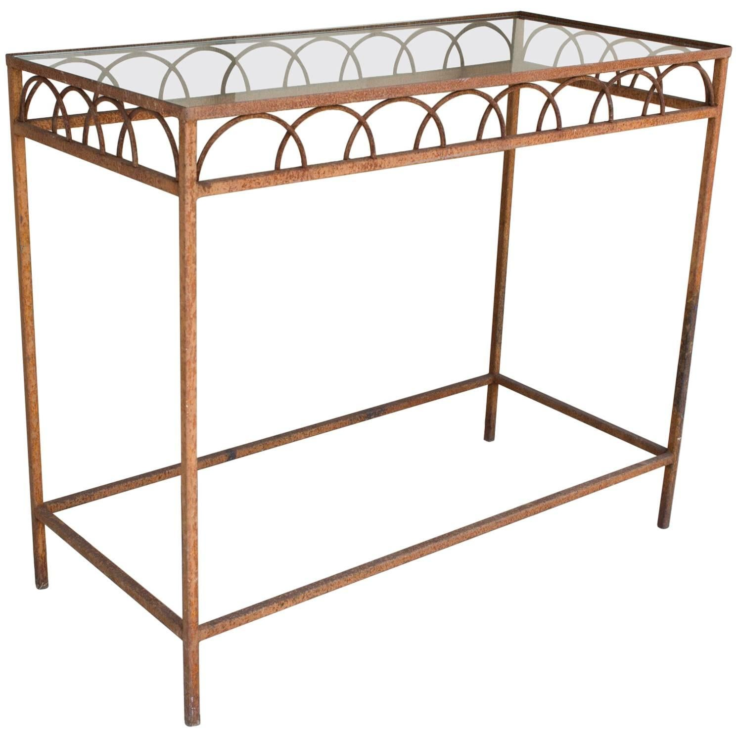 Antique French Iron U0026 Glass Bar Height Console Table From A Parisian Flower  Shop 1