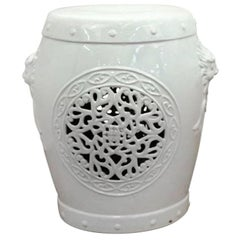 White Ceramic Garden Stool with Asian Inspired Motifs