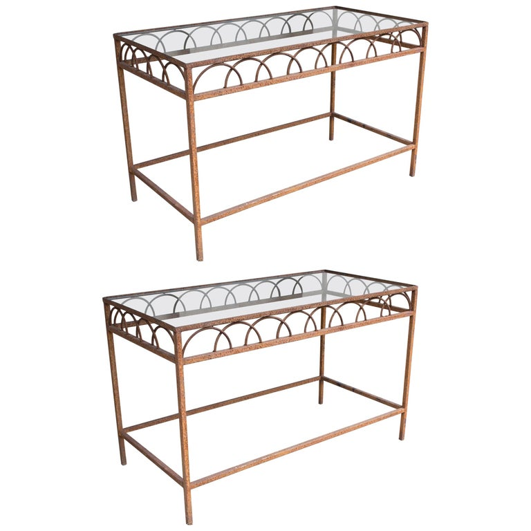 Pair of French Antique Iron and Glass Tables from a Parisian Flower Shop