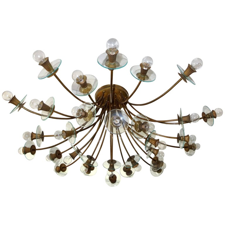 large and rare italian 30 arm chandelier after pietro. Black Bedroom Furniture Sets. Home Design Ideas