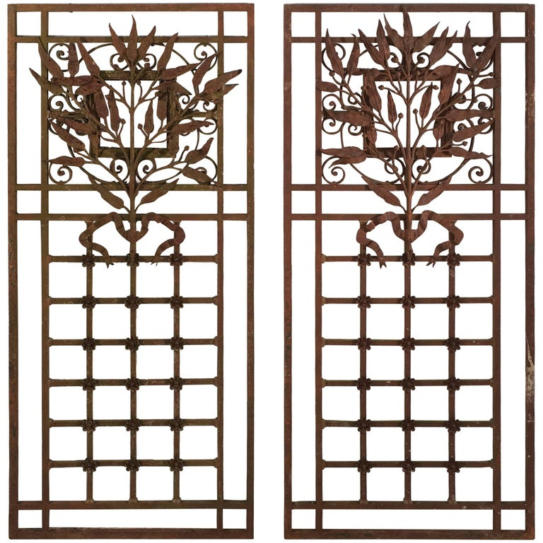 Pair of Exceptional French Wrought Iron Grilles or Gates