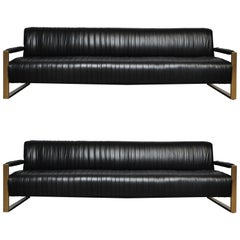 Modern Drama Pleated Leather Sofa with Brushed Brass Frames
