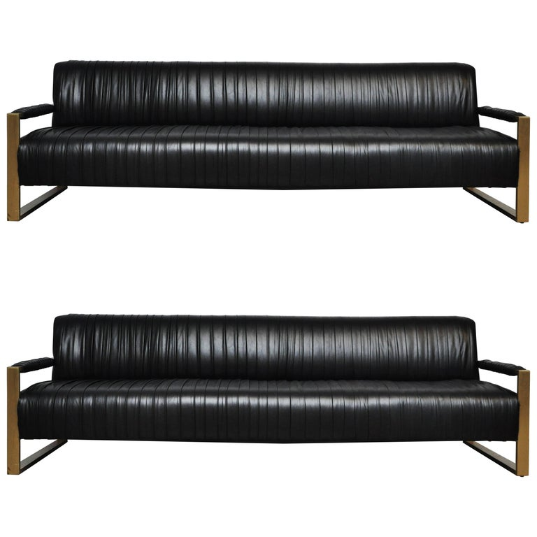 Modern Drama Pleated Leather Sofa with Brushed Brass Frames 1
