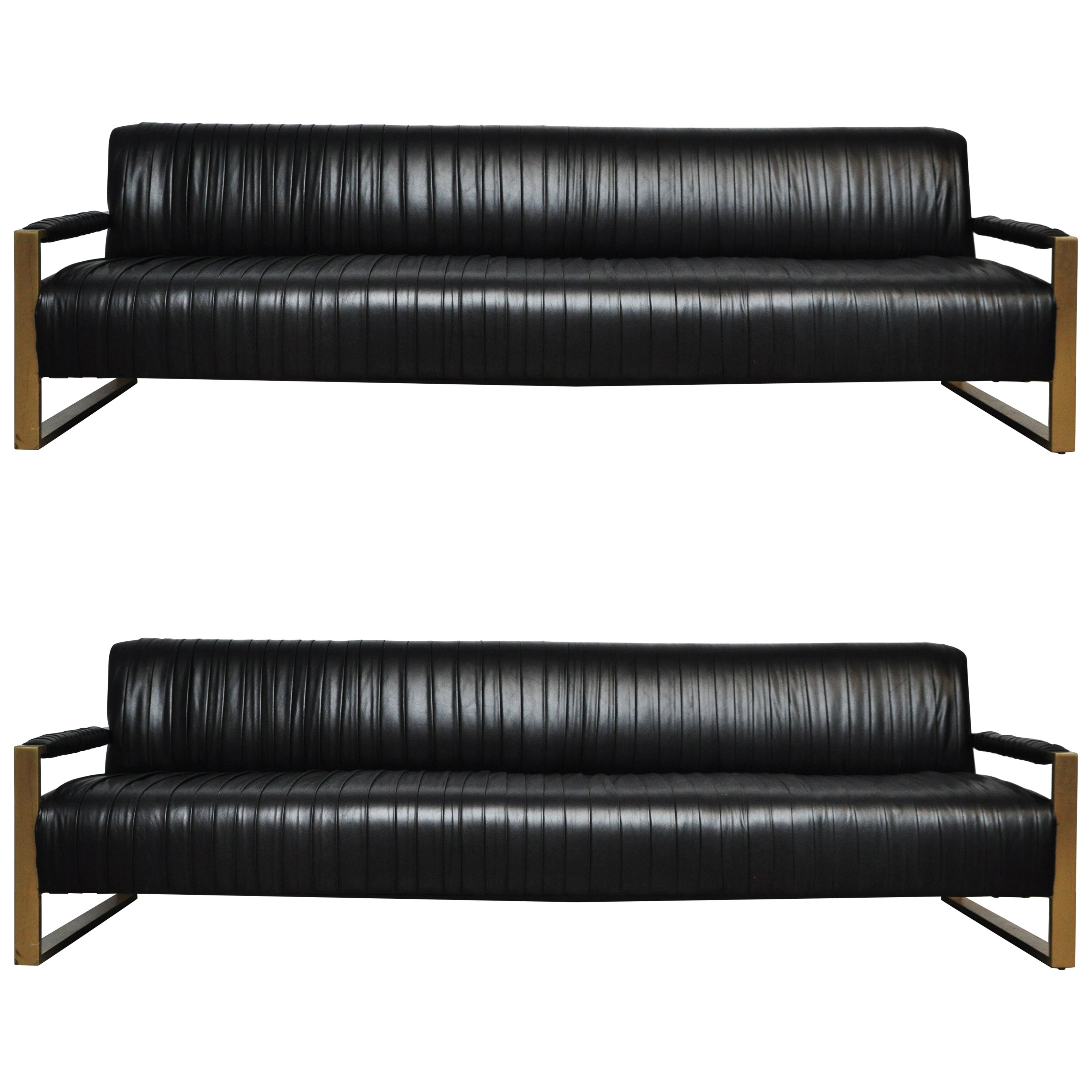 Modern Drama Pleated Leather Sofa with Brushed Brass Frames at 1stdibs