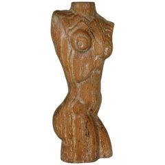 Limed Oak Torso Sculpture