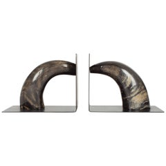 Rare Pair of Black Buffalo Horn Auböck Bookends, Vienna, 1950s